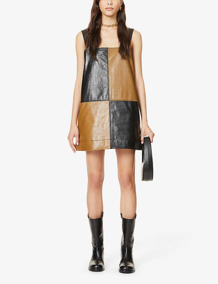 Ganni Colour-block leather mini dress