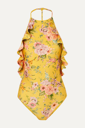 Zimmermann Zinnia Ruffled Floral-print Swimsuit - Yellow