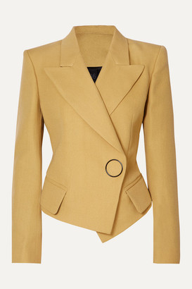 Petar Petrov Double-breasted Grain De Poudre Wool And Silk-blend Blazer - Beige