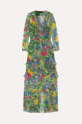 Saloni Izzie Ruffled Printed Silk-chiffon Maxi Dress - Green