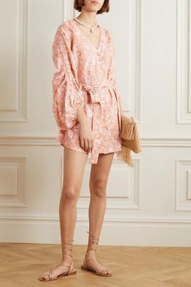 Hannah Artwear - Ischia Belted Printed Linen Mini Dress - Orange