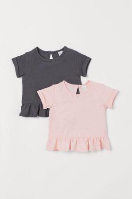 H&M 2-pack Linen-blend Tops - Pink