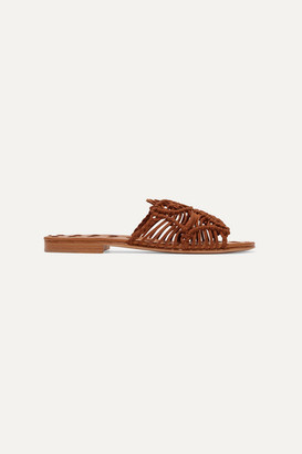 Carrie Forbes Rosa Woven Suede Slides - Brown