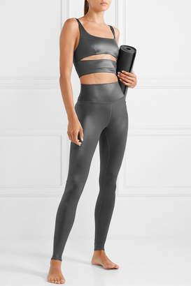 Alo Yoga Slit Cutout Metallic Stretch Sports Bra - Gunmetal