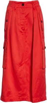 Dries Van Noten Savannah Cotton & Wool Midi Cargo Skirt
