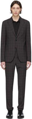 Ermenegildo Zegna Grey and Pink Wool Plaid Suit