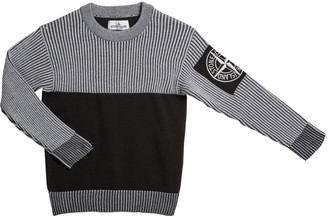 Stone Island Boy's Crewneck Sweater with Logo Arm Patch, Size 10-12