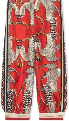 Gucci Kids Silk Trousers With Eagle Print