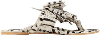 Figue Tasseled Zebra-print Calf Hair Sandals