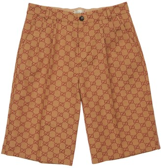 Gucci All Over Logo Cotton Canvas Shorts