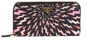 Prada Thunder Zip Around Saffiano Leather Wallet