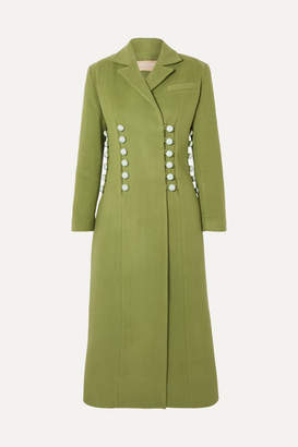 MATÉRIEL Button-detailed Wool-blend Coat - Green