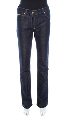 Escada Navy Blue Glitter Denim High Rise Straight Leg Jeans S