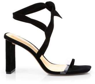 Alexandre Birman Katie Ankle-Wrap PVC-Trimmed Suede Sandals