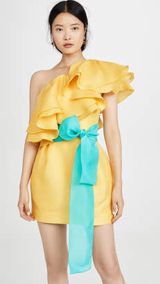 Prabal Gurung Carsix One Shoulder Ruffle Dress