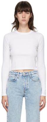 Rag & Bone White The Rib Cropped Long Sleeve T-Shirt