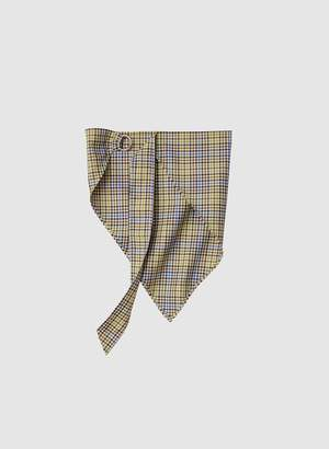 Tibi Recycled Menswear Check Babushka Scarf