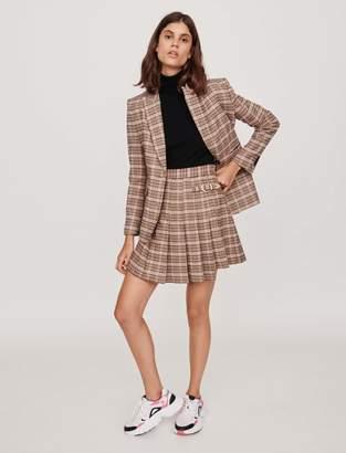 Maje Pleated plaid kilt-style skirt
