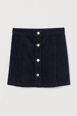 H&M A-line Corduroy Skirt - Blue