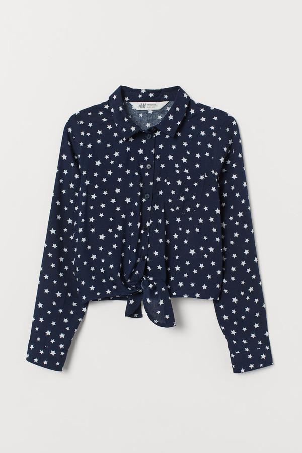 H&M Tie-hem Shirt - Blue
