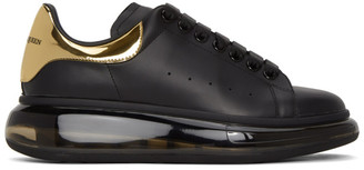 Alexander McQueen Black and Gold Clear Sole Oversized Sneakers