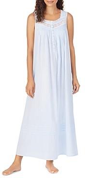 Eileen West Cotton Dobby Striped Lace Trim Ballet Nightgown