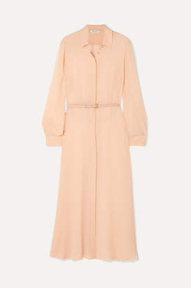 Max Mara Delfi Belted Silk-chiffon Midi Dress - Peach