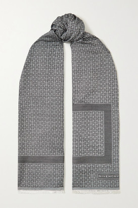Givenchy Fringed Silk And Wool-blend Jacquard Scarf - Gray