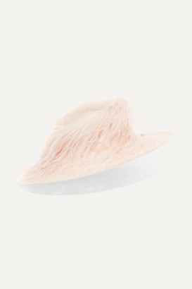 Philip Treacy Feather-trimmed Sinamay Straw Hat - Cream