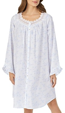 Eileen West Floral Stripe Long-Sleeve Sleepshirt