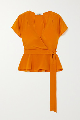 Diane von Furstenberg Kelsey Silk Crepe De Chine Wrap Top - Orange