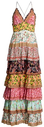 Alice + Olivia Imogene Tier Ruffle Floral & Paisley Maxi Dress