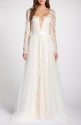 Tadashi Shoji Lace Applique V-Neck Wedding Dress with Overskirt