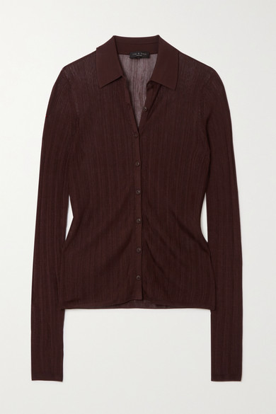 Rag & Bone Pacey Ribbed-knit Shirt - Brown