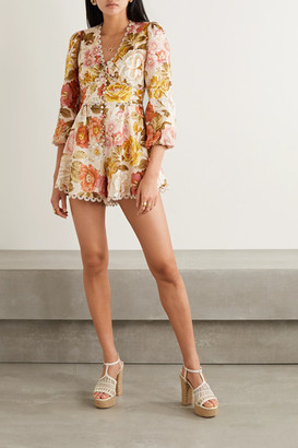 Zimmermann Bonita Crochet-trimmed Floral-print Linen Playsuit - Cream