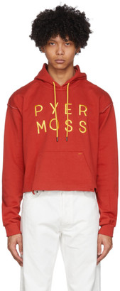 Pyer Moss Red Cropped Logo Hoodie
