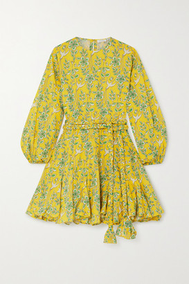 Rhode Resort Ella Belted Ruffled Floral-print Cotton-voile Mini Dress - Yellow