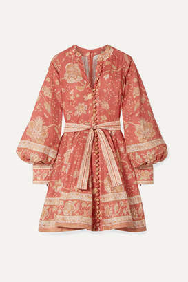 Zimmermann Belted Printed Linen Mini Dress - Red