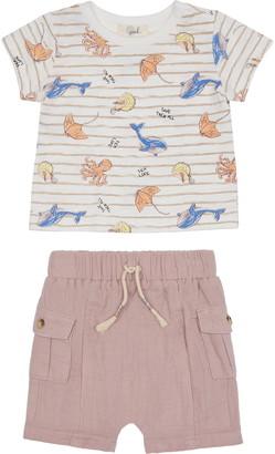 Peek Aren't You Curious Booker Coast Graphic Tee & Shorts Set
