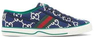 Gucci 1977 Gg-jacquard Web-stripe Trainers - Mens - Blue Multi
