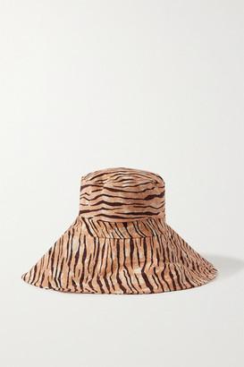 Faithfull The Brand Frederikke Tiger-print Linen Sunhat - Brown