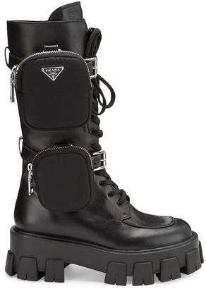Prada Chunky Leather Tall Combat Boots