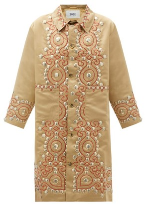 Bode Studded Paisley-embroidered Satin Coat - Gold