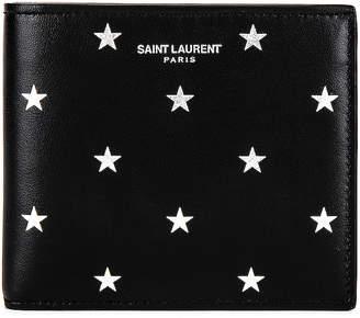 Saint Laurent East West Wallet in Black & Platinum | FWRD