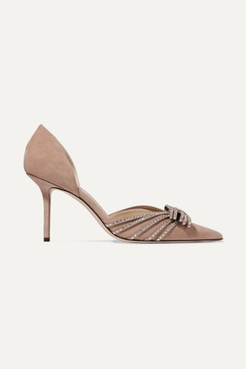 Jimmy Choo Kaitence 85 Crystal-embellished Suede Pumps - Antique rose