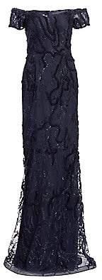 Teri Jon by Rickie Freeman Women's Off-The-Shoulder Mermaid Gown