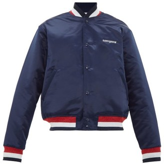 Noon Goons Dugout Embroidered-satin Bomber Jacket - Mens - Navy