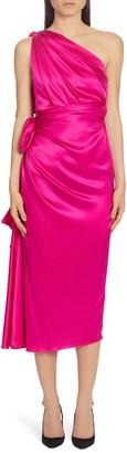 Dolce & Gabbana One-Shoulder Silk Satin Midi Dress