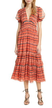Ulla Johnson Elodie Tie Dye Silk Midi Dress