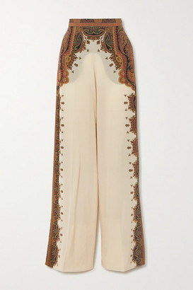 Etro Printed Silk Wide-leg Pants - Ivory